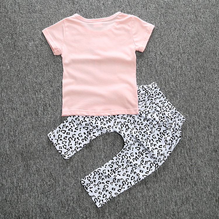47650acc0 2018 Summer Baby Girl Clothes 2pcs   Set Pink Fox T shirt pants Baby ...