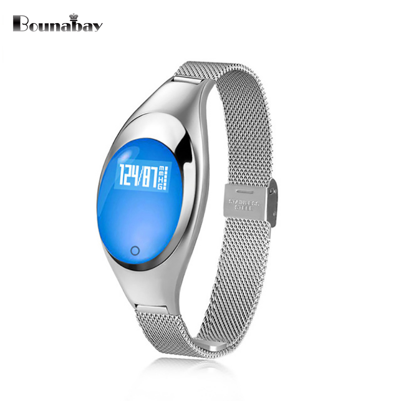 BOUNABAY Heart Rate Monitor Bluetooth 4.0 Smart woman watch for apple android ios phone women Clock Touch women ladies Clocks hot sale newest waterproof bluetooth smart watch for apple android phone high quality smart health heart rate monitor wearable