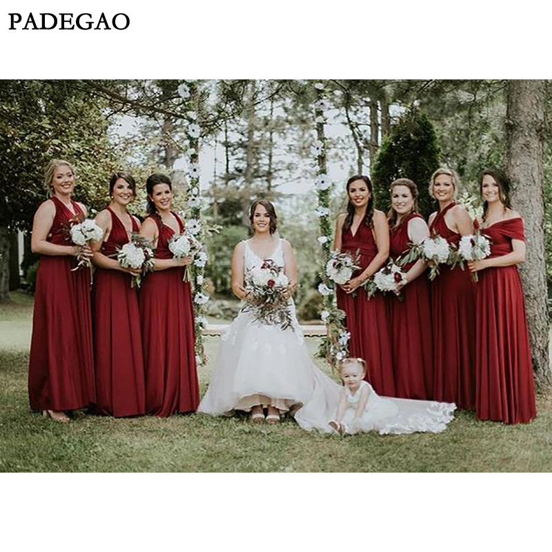 Simple Red A-Line Long   Bridesmaids     Dresses   Sleeveless Customized Spring Mismatched   Bridesmaids   Prom Plus Size