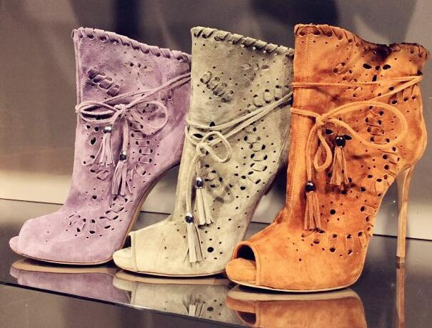 New Arrivals Hottest Suede Leather Flower Embroidery Gladiator Ankle Bootie Peep Toe Thin Heel Women Dress Shoes