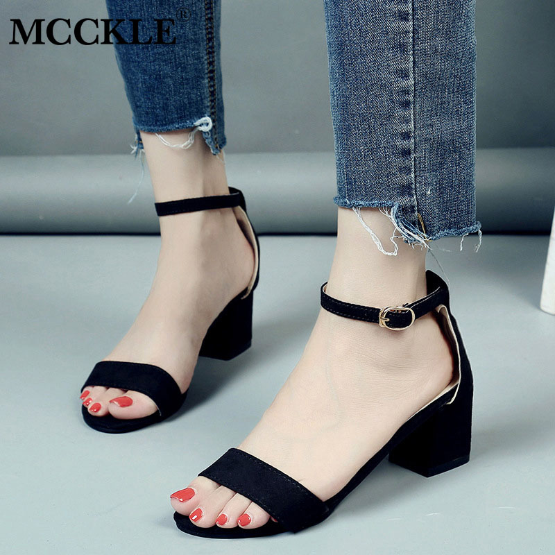 MCCKLE Summer Women Shoes Gladiator Buckle Strap Cover Heel Fashion Chunky Ladies Sandal ...