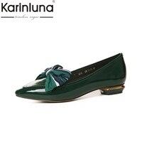 Karinluna本革ファッションサイズ34-40尖ったつま先プラットフォーム女