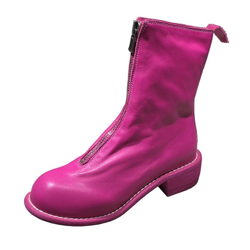 2018 JiaoDianWuBu Для женщин кожи на платформе с молнией ботильоны с круглым носком дымоход женские ботинки в британском стиле Повседневная мода