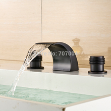 High Quality Deck Mounted Double Handles Basin Faucet Taps Oil Rubbed Bronze Finished Waterfall Spout