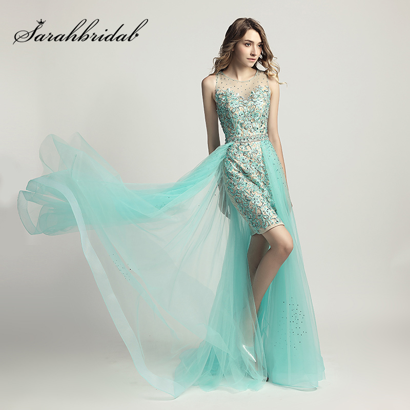 Newest Design Lace Appliques Cocktail Dresses with Beading Illusion Tulle Skirt Light Knee Length Evening Prom