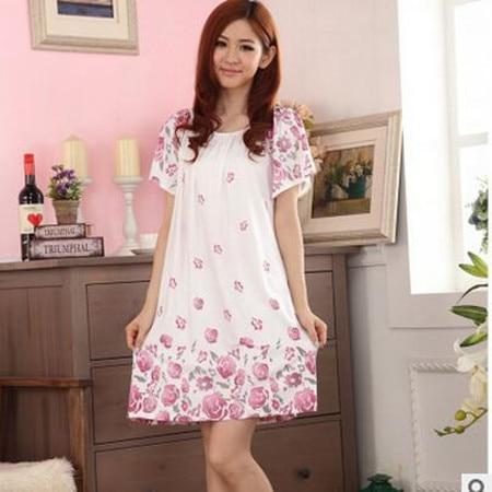 2018 Free Shipping Woman Spring Summer Dress Cotton Nightgown Girl's Soft Sleepshirts Female Sleepwear Plus size Nightgowns XXL 4