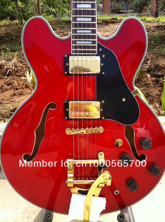 """G-USA cherry red 1963 ES-335 """"block marker"""" guitar with Bigsby vibrato electric guitar with free shipping"""