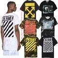 Off white t-shirt das mulheres dos homens hip hop 1:1 marca clothing Kanye West Virgil O-pescoço de verão de Manga Curta Camuflagem Off White T-shirt