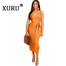 XURU 2019 autumn new womens knit dress sexy bright color hook flower strap fashion hollow backless pencil