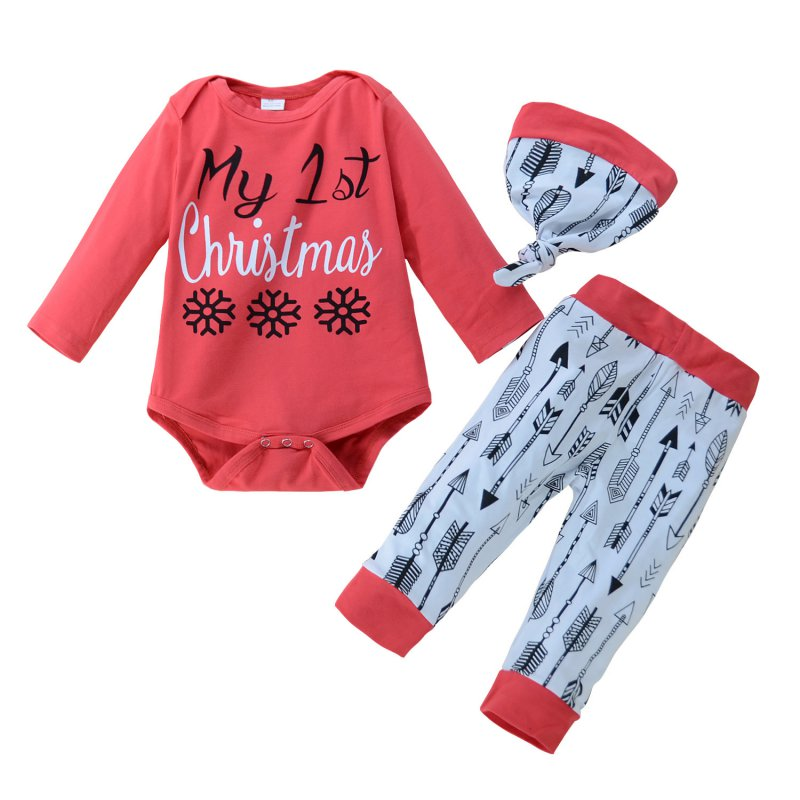 Baby Suit Cotton Infant Christmas Style Suit Tops + Pants + Hat 3pcs Sets Red 4pcs Black Newborn Baby Girl Clothes Hot Sale