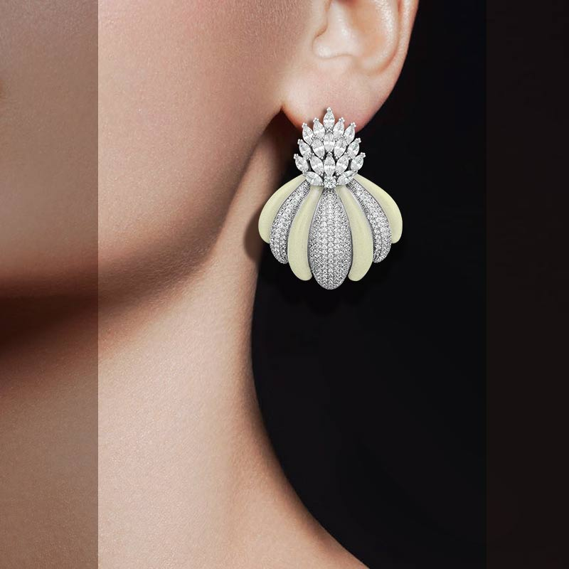 все цены на ModemAngel Engagement Bracelet Earrings Luxury Brand Design Cubic Zirconia Pave Earrings Jewelry for Women онлайн