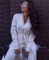 Cardigan Feminino Poncho 2019 Winter New Knitted Velvet Long Feather Tassel Pocket Bead Cardigan Long sleeved Sweater Female