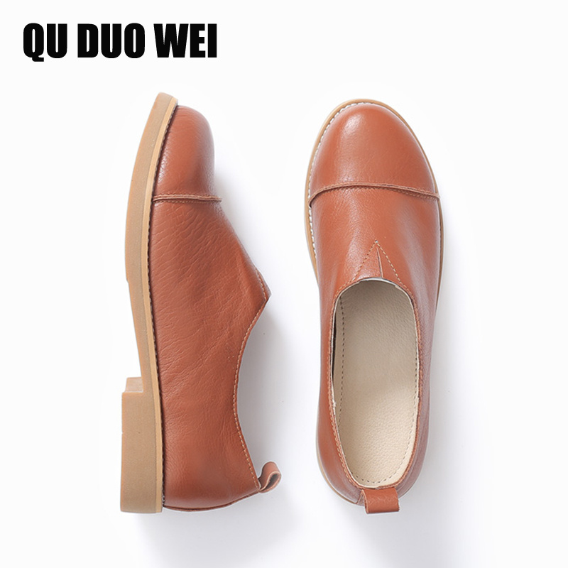 QuDuoWei Handmade Authentic Leather Women Flats Casual Oxfords Shoes Genuine Leather Slip-On Flats Comfortable Creepers Shoes new style comfortable casual shoes men genuine leather shoes non slip flats handmade oxfords soft loafers luxury brand moccasins