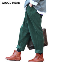 2017 Women Corduroy Pants Vintage Autumn Autumn Casual Thicken Warm Elastic Waist Loose Cotton Pleated Trousers