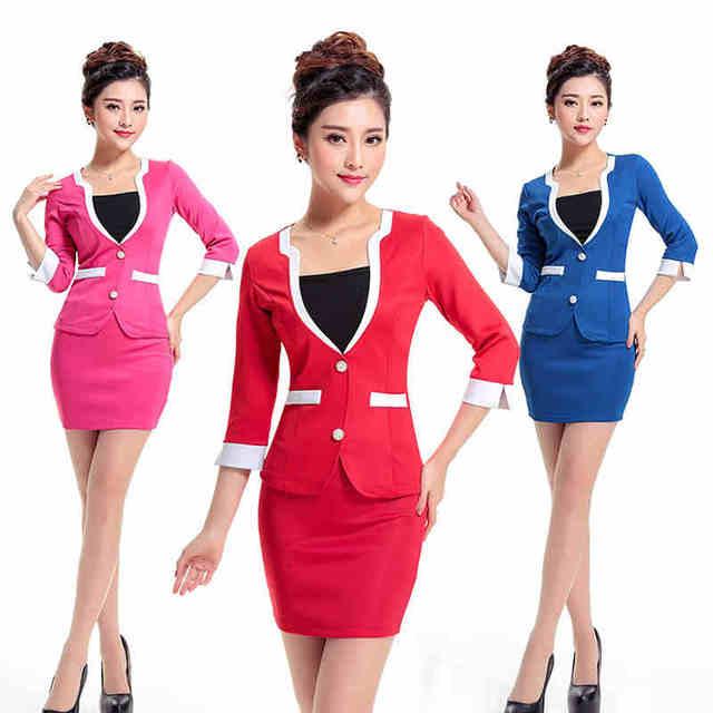 Frete grátis Formal de trabalho uniforme para as mulheres sólidos Office Lady saia ternos para recepção do Hotel uniformes de trabalho veste nova companhia aérea