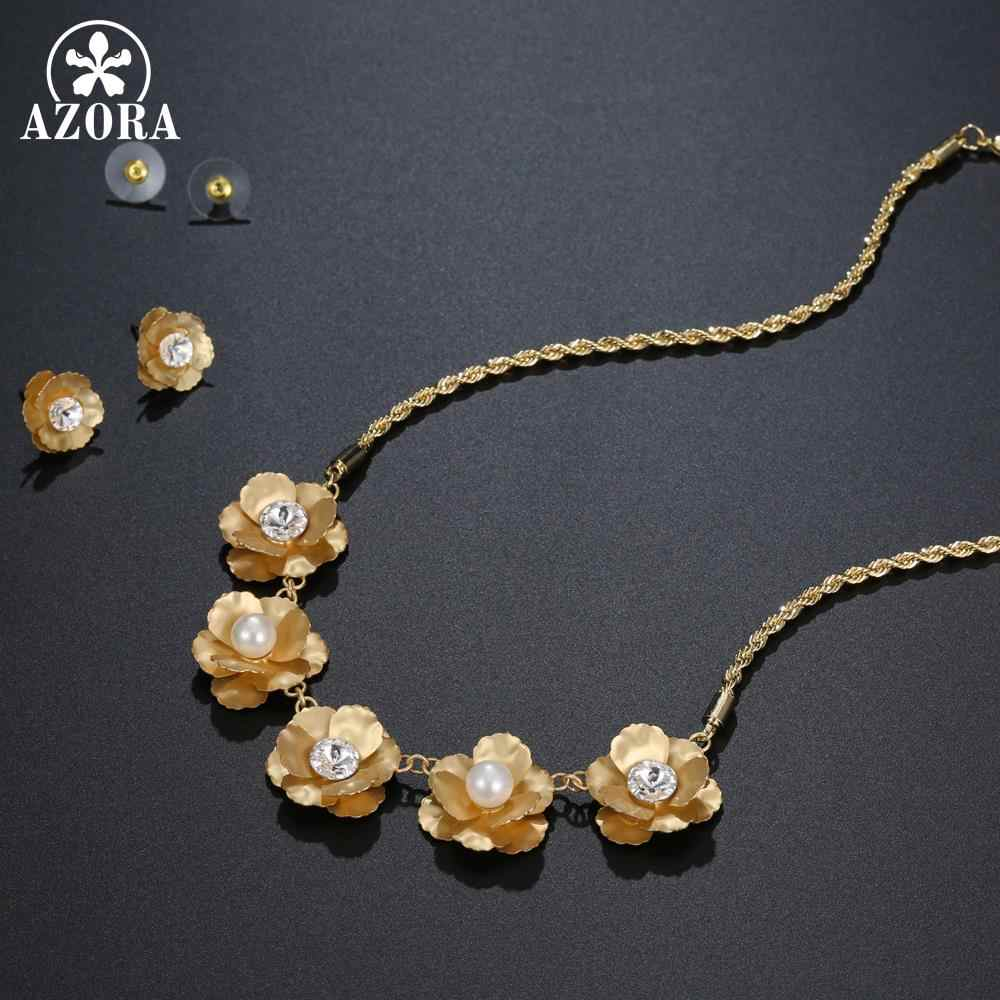 AZORA New Unique Design Gold Color Pearl Flower Pendant Necklace and Stud Earrings Bridal Jewelry Set Wedding Accessories TG0262