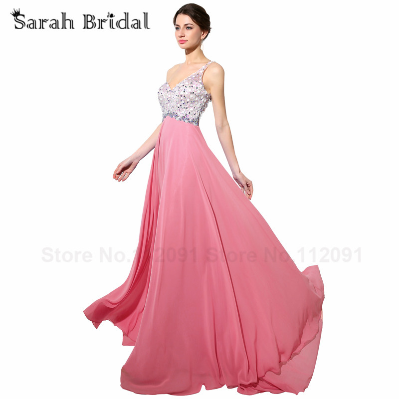 Chic Beading Bodice Chiffon Evening Dresses A-Line Long 2017 New Arrival  Candy Color Formal Prom Gowns 112cc6ea882f