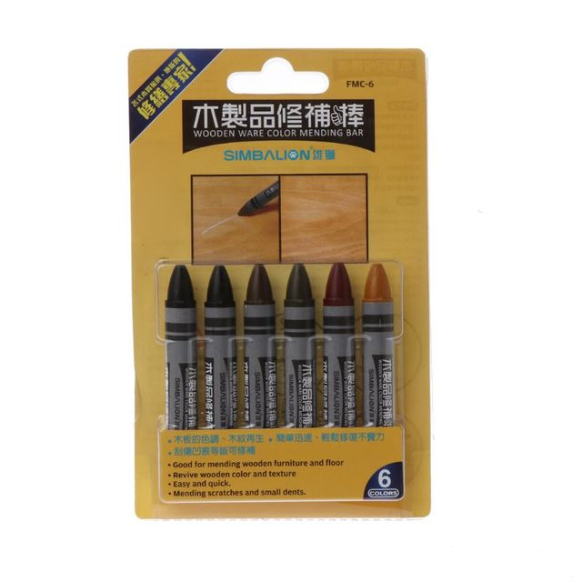 6pcs Furniture Marker Crayons Repair Kit Wood Touch Up Scratch