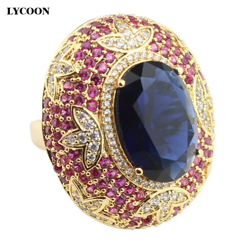 LYCOON new elegant gold-color oval style big crystal rings prong setting rose red and white Cubic Zirconia party ring for women gothic style faux crystal rose bracelet with ring for women