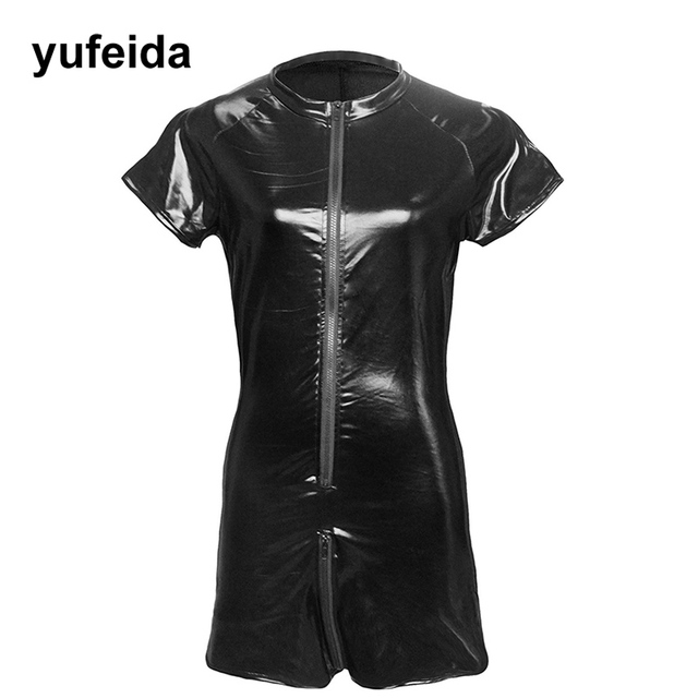 Men s Jumpsuit Sexy Mesh Patchwork Short Sleeve PU Leather Romper Zipper  Sexy Guy Men One-piece Garment Sexy Men Clothes fd5148711