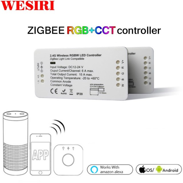 LED בקר RGB + CCT RGBW WWCW LED רצועת בקר DC12/24 V ליניארי אור דימר APP LED בקר