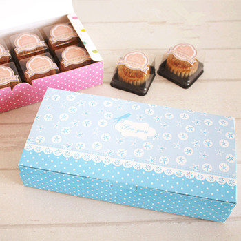 Free shipping long blue cookie dessert candy bakery package box cake gift packing boxes favors