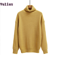 2015 Autumn And Winter Women Sweater Solid Color Turtleneck Casual Long Sleeve Loose Knitted Sweaters Pullover