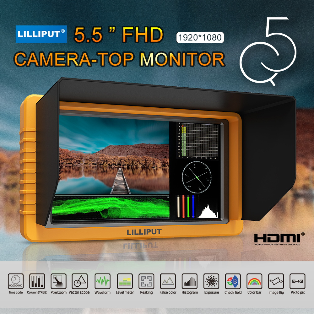 LILLIPUT Monitor Q5 5 inch 1920*1080 Full HD Monitor with SDI HDMI Cross Conversion Metal Housing High Resolution to Camcorder lilliput 663 s2 7 inch led field monitor with 3g sdi hdmi ypbpr via bnc composite video and sun hood optimised for full hd