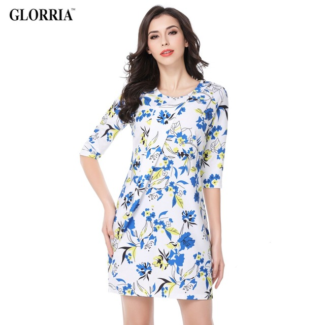 Glorria Women Elegant Leaf Flower Print Three Quarter Sleeve Wrinkle Dress Summer Casual Fashion Work Pencil Dresses