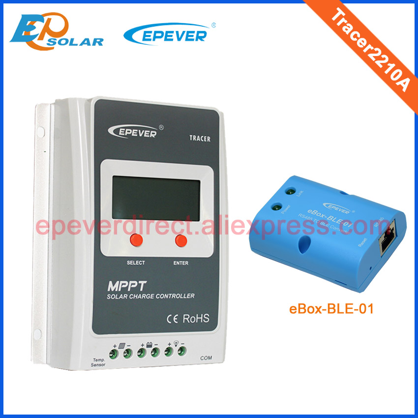 MPPT EPSolar EPEVER products from factory direct solar controller Tracer2210A 20A 20amp with eBLE-BOX-01 connect use epsolar tracer mppt 20a 2215bn solar charge controller solar tracker controller for renewable energy system