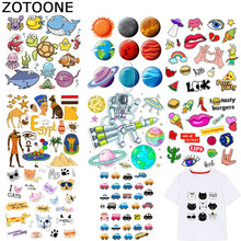 ZOTOONE Cartoon Car Stickers Planet Animal Patch Iron on Transfers for Clothes T-shirt Heat Transfer DIY Accessory Appliques F1