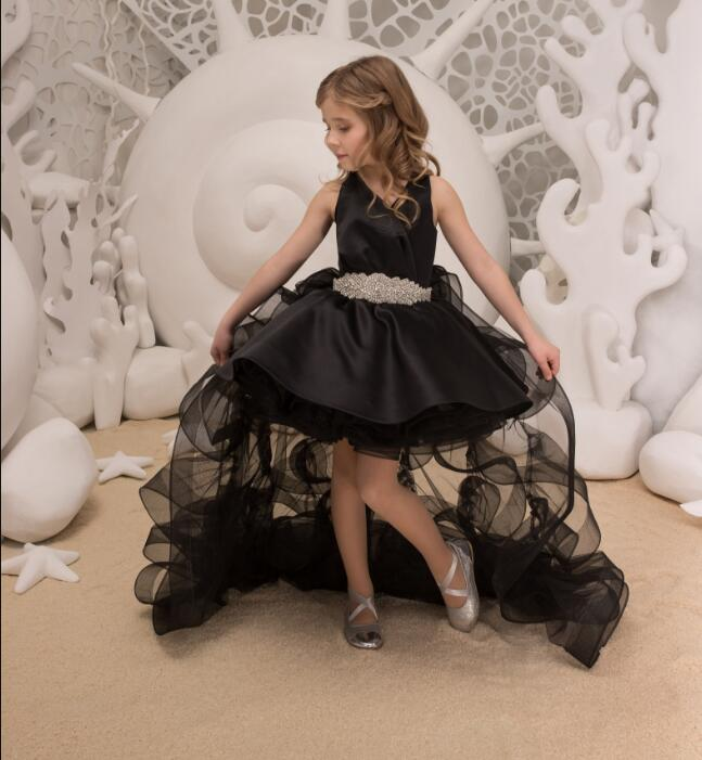 Pretty Puffy Flower Girl Dresses 2018 High Low Communion Dresses Pageant Dresses For Little Girls White Pink Black Any Size high low flower girl dresses beaded organza ruffles v neck first communion dress 2018 girls pageant gown custom any size