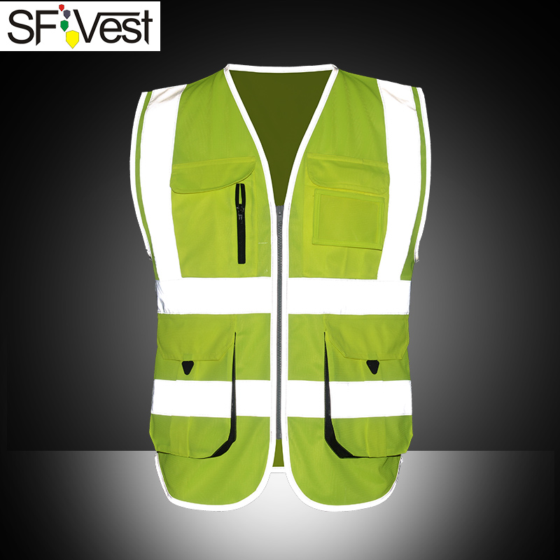 SFvest High visibility reflective safety tooling traffic vest multifunction multi pocket waistcoat for male female free shipping