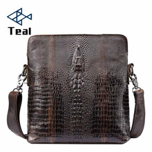 2019 New Crocodile Pattern Men Genuine Leather shoulder bag Male Vintage Messenger bag  Large Capacity Bags High Quality все цены