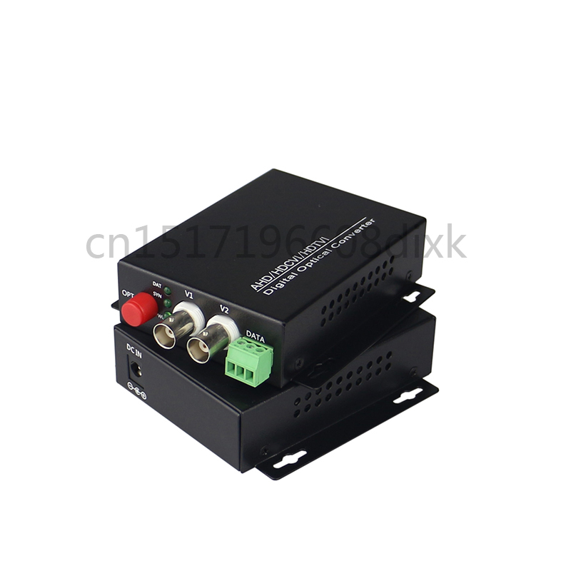 AHD/TVI/CVI 2 Channel + 1 Data RS-485 Video To Fiber Converter