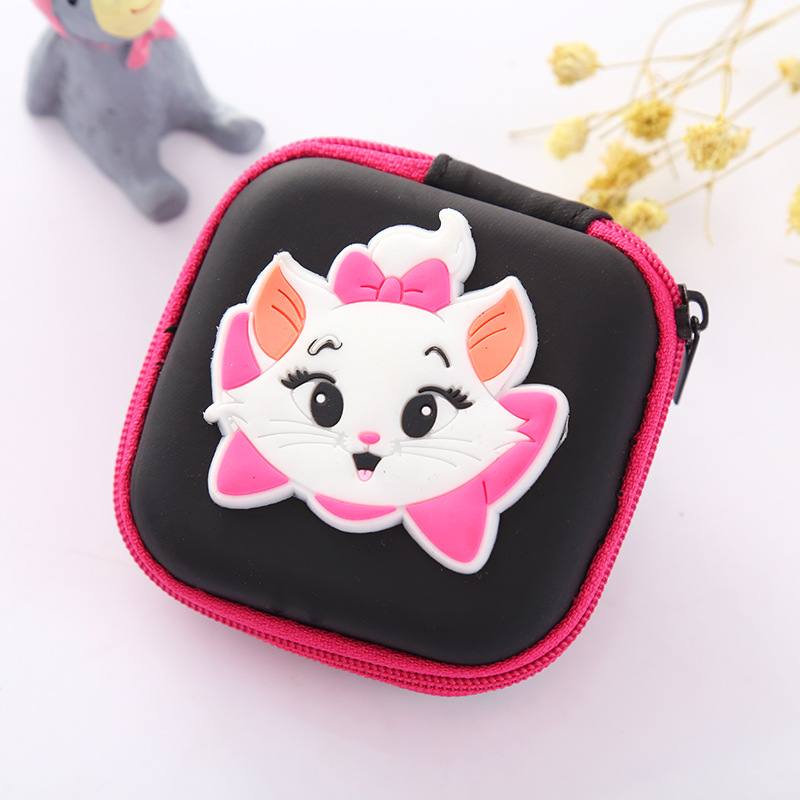 Pink Purse Lovely Anime Cartoon Marie Cat Silicone Coin Key Bags Earphone Holder Organizer Box Gift Kids Mini Wallets
