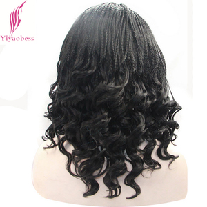 Image 5 - Yiyaobess 16inch Micro Lace Front Braid Wig Short Blonde Black Wigs For Women Heat Resistant Synthetic Hair
