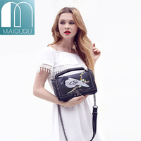 MAIDUDU Chinese Style Embroidery Bird Sequins Womens Handbags Popular Brand Chain High Quality PU Lady Shoulder