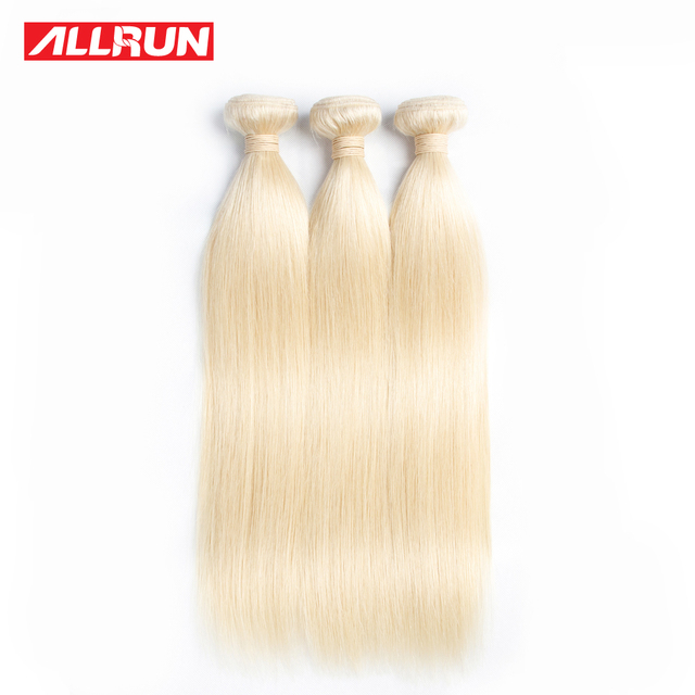 Allrun Peruvian Straight Hair Weave 613 Blonde Non Remy Hair 3