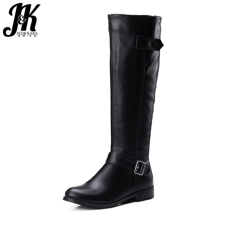 J&K Buckle Strap Knee-High Riding Boots Side Zipper Comfortable Winter Boots Women Shoes 2017 New Arrival Square Heel Footwear scoyco motorcycle riding knee protector extreme sports knee pads bycle cycling bike racing tactal skate protective ear