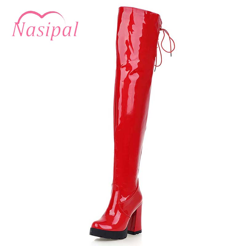 Nasipal 2018 Autumn Sexy Over The Knee Boots Red High Heels Knight Boots Patent Leather Women Nightclub Pole Dancing Boots M215 20cm pole dancing sexy ultra high knee high boots with pure color sexy dancer high heeled lap dancing shoes