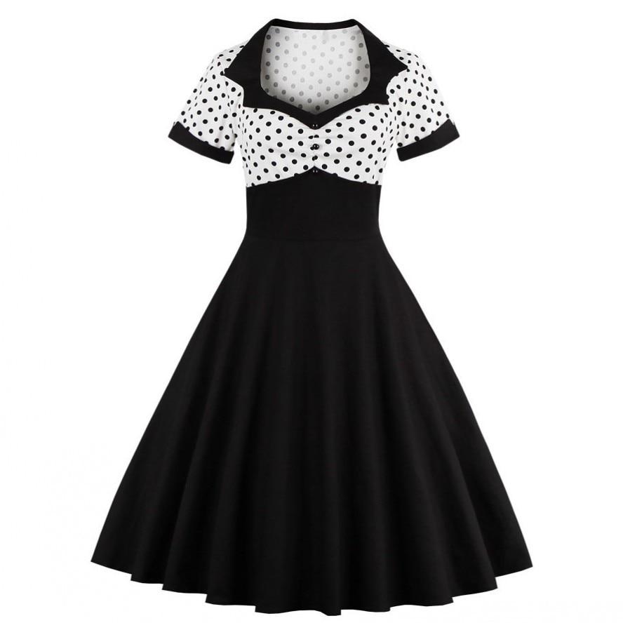 2018 mujeres del verano vestido retro 1950 s 60 s vestido lunares - Ropa de mujer - foto 2