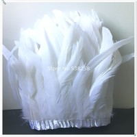 Free shipping pure white 30 35cm 100pcs/Y 2Yard/lot rooster Coque Tail Fringes Sewing on Rooster feather trimming/ribbon