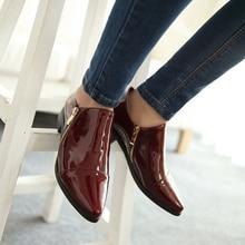 ขนาดใหญ่33-43ใหม่ฤดูร้อนแฟชั่นเซ็กซี่ผู้หญิงรองเท้าหนังสิทธิบัตรไปรษณีย์แหลมแฟลตเท้าสีดำไวน์แดงเซ็กซี่AA289