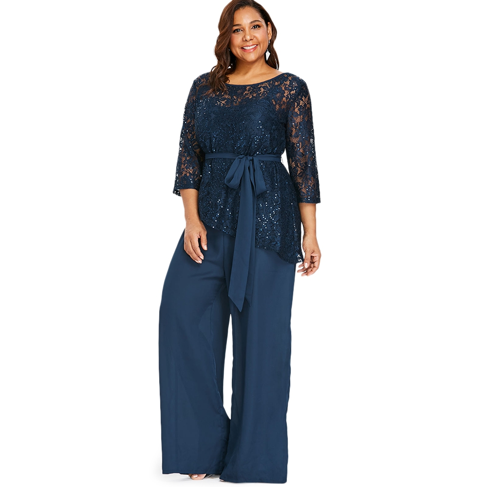 Detail Feedback Questions about Women Plus Size Wide Leg Jumpsuit With Lace  Blouse Casual Solid Belted Two Piece Palazzo Jumpsuit Ladies Set Big Size  on ... e95628b1b621