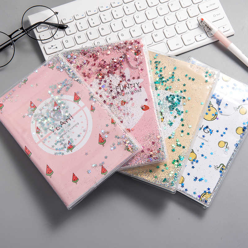 """Shining Fruits"" Cute Monthly Weekly Planner Agenda Diary Journal Notebook PVC Cover Water Sequins Inside"