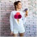 Venta caliente de Las Mujeres de moda bola de peluche lindo de impresión de manga larga Camiseta de las mujeres ocasionales simples cuello redondo Pullover tapas de La Camiseta