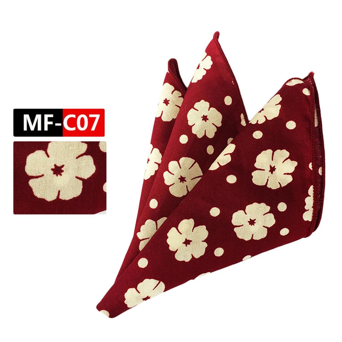 Hot Men's Cotton Pocket Square Western Style Floral Handkerchief For Suit Pocket Wedding Square Paisley 25x25cm