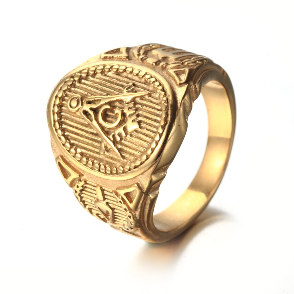 Gold titanium steel ring Men's accessories wholesale ...