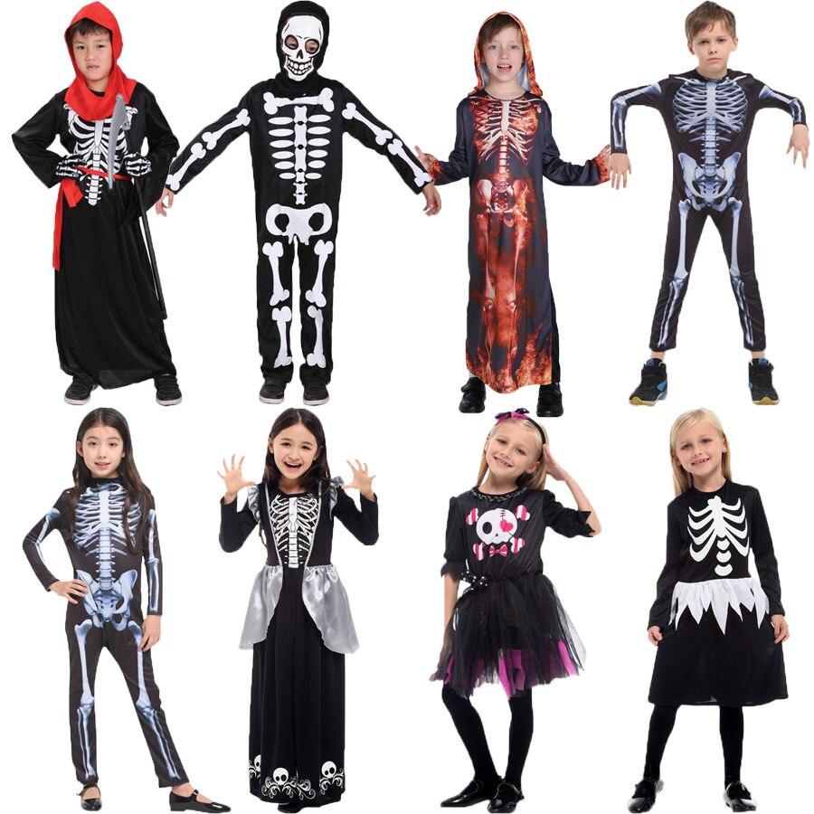 Umorden Halloween Purim parte esqueleto disfraces niños ropa niños cráneo esqueleto monstruo demonio fantasma aterrador vestido de traje para niños niñas